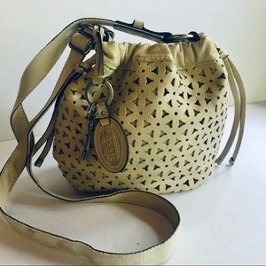 Fossil creamy yellow perforated crossbody bag